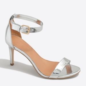 J.Crew Metallic Silver High-heel Sandals Size 9